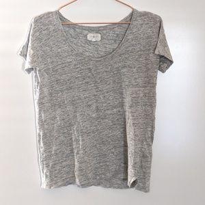 Lou & Grey Heathered Grey Linen Tee Size XXS
